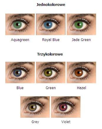 Jednokolorowe: Crystal Blue, Royal Blue, Jade Green ; Trzykolorowe: Blue, Green, Hazel, Grey, Violet
